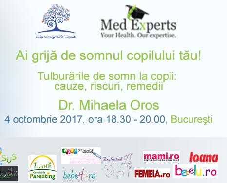 """Totul despre tulburările de somn la copii, cu dr. Mihaela Oros. Plus 5 invitații la seminarul """"Ai grijă de somnul copilului tău!"""""""